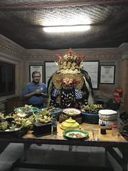 Another shot of me next to the newly installed barong- what a privilege! (shankar s.) Tags: seasia indonesia java bali islandparadise baliisland touristdestination ubudbali hindufaith hindureligion hinduism temple placeofworship templedecorations embellishments religiousparaphernalia statue mythologicalfigures barong dragon ethnicindonesian balilocalresident religiousceremony templeceremony decorations prayer people localtemple celebration goodluckcharm blissubudspaandbungalow gathering