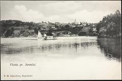 Postkort fra Agder (Avtrykket) Tags: bolighus dampbåt hus kirke postkort seilbåt uthus arendal austagder norway nor