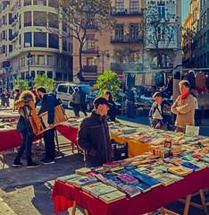 Book Stall - Valencia's Sunday Market (Cross Process Effect) (Olympus OM-D EM1-II & Panasonic Lumix 12-60mm Zoom) (1 of 1) (markdbaynham) Tags: valencia valencian 1260mm lumix lumixer panasoniczoom city urban urbanlife street streetmarket market mercat spain spainish spainishcity espana espanol olympus olympusomd omd olympusmft olympusem1 olympusspain mft m43 mirrorless micro43 microfourthird microfourthirds em1 evil em1ii em1mk2 em1mark2 es people citylife sundaymarket micro43rd m43rd books stall bookstall crossprocess