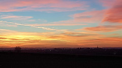 Sunset over Kettering (Scene the light...) Tags: glorious sunset sun sky blue red pink orange yellow gold golden trees church shadow silhouette beautiful night evening home kettering northants northmptonshire town county country countryside mobile phone click snap photo photograph foto light local