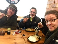 Chris Conway & Dan Britton Neil Rabjohn - hasty Chinese meal before concert at The Guildhall, Leicester (unclechristo) Tags: chrisconway danbritton sallybarker leicesterguildhall