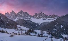 Fantasy (inkasinclair) Tags: santa maddalena snow mountains italy dolomites church sunrise clouds sky colour odle