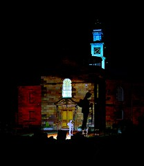 Old Parish Memorial (matthewblackwood10) Tags: old parish memorial ww ii i 1 2 poppy remember remembrance war church tower clock light night dark shine colour winter cold evening graveyard grave shadow projection stone uk hamilton scotland