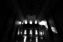 The Great Hall .... In Sumptuous Shadow & Light (Greg's Southern Ontario (catching Up Slowly)) Tags: nikon stlawrencehall interiorphotography blackandwhitephotography greathall greathallstlawrencehall torontoist stlawrencehallgreathall monochrome shadowsandlight