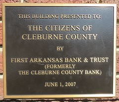 Old Cleburne County Bank Plaque (Heber Springs, Arkansas) (courthouselover) Tags: arkansas ar cleburnecounty hebersprings banks arkansasozarks ozarkmountains northamerica unitedstates us