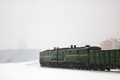 train in the snow (Life and Photo) Tags: train railway locomotive railroad station transportation transport travel rail track electric engine winter platform diesel cargo red freight passenger car snow trains speed wagon road hurricane blizzard snowstorm landscape ice highway white nature forest tree season weather traffic frost city way frozen belarus mogilev могилев беларусь тепловоз 2тэ10