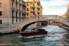 Posing in Venice (srkirad) Tags: travel venice italy bridge ponte boat couple love photographing posing girl boy waves sunset evening water sea vacation holidays houses windows balconies sky sunny