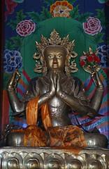 140. Interior, Maitreya, Lho Ribang Monastery, Lho, Gorkha District, Manaslu Trek, Nepal (Jay Ramji's Travels) Tags: nepal lho gorkhadistrict manaslutrek himalayas lhoribangmonastery monastery buddhism placeofworship interior religious statue maitreya buddha