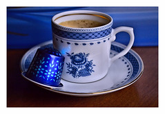 afternoon caffeine top up (Claudia1967) Tags: coffee espresso blue comforting cosy hot caffeine wakeup light reflection capsule whatelse brew drink moment take5 pause