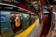 Next Stop, Times Square! (skingld) Tags: 34thstreetheraldsquare underground manhattan fisheyelens newyorkcity mta metropolitantransportationauthority christmastime subwaystation historictrain