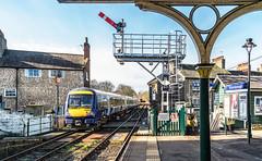 Period Knaresborough (Kingmoor Klickr) Tags: gordonedgar 150210 170458 class170 class1502 knaresborough railwaystation semaphore signal northyorkshire signalbox 2c19 2c14