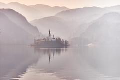 Lake Bled, Slowenia (flowerikka) Tags: berge church fog gebirge kapelle lake lakebled mist mountains nebel reflection see silhouetten sky slowenia wasser wasserspiegelungen water winter