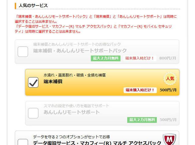 格安SIM・格安スマホ楽天モバイルのオプション選択