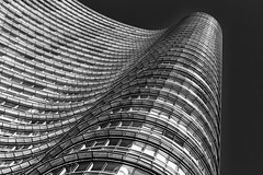 The Wave (Leipzig_trifft_Wien) Tags: tower building blackandwhite lookup lookingup monochrome bnw facade windwos geometry structure pattern black white city urban