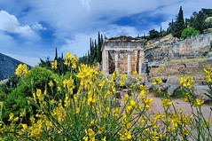 The Treasury of the Athenians (Dimitil) Tags: delfi delfoi centralgreece fokida greece hellas monuments antiquity ancientmonuments unesco unescoworldheritage uwh clouds flowers amfissa greecehellas