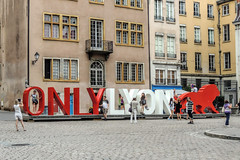 """ONLY IN LYON"" (dckellyphoto) Tags: lyon france 2013 rhônealpes sign onlyinlyon europe red white lion people"