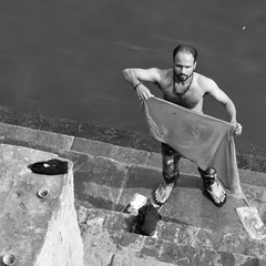 varanasi 2019 (gerben more) Tags: varanasi handsomeman hairychest ganges blackwhite benares monochrome people portrait portret india