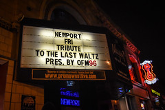 Newport Marquee (tim.perdue) Tags: newport music hall marquee sign lights neon friday tribute last waltz concert osu campus ohio state univerity columbus north high street nikon d5600 nikkor 1020mm wide angle qfm96 rock letters text colorful multicolored big bar grill waffle house signs