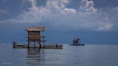 wait.... (Collin Key) Tags: bamboo ocean sulawesi gorontalo saronde sky indonesia blue floatinghouses kwandang indonesien id happyplanet