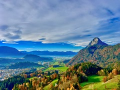 View of Pendling mountain and river Inn valley from Thierberg chapel near Kufstein in Tyrol, Austria (UweBKK (α 77 on )) Tags: österreich thierberg kapelle chapel mountain top tyrol tirol austria europe europa kufstein river inn valley pendling alps sky clouds blue white autumn fall colors colours trees forest