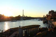 Cold sunset in Paris (Chapo78) Tags: sunset paris river cold autumn sun seine trees city eiffel tower