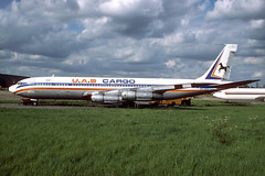 5N-ASY Boeing B707-351C EGSS 24-05-86 (MarkP51) Tags: 5n5nasy boeing b707351c b707 uascargo stansted airport stn egss jet cargo airliner freighter england aircraft airplane plane image markp51 kodachromeii kodachrome64 slide film scan analog planeporn
