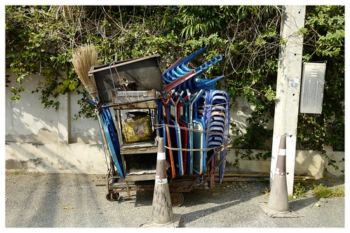 Chiang Mai snapshot: Cart with tables, stools, broom...