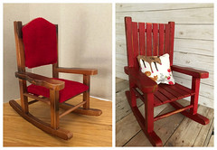 Rocker: Before and After (Foxy Belle) Tags: doll barbie blythe playscale dollhouse furniture thrift store rocking chair diy red paint chalk ooak makeover before after tutorial how 16 scale cabin rustic distressed wood wooden