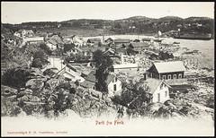Postkort fra Agder (Avtrykket) Tags: bolighus driftsbygning hus kil postkort sjø skip vei grimstad austagder norway nor