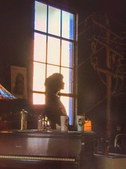 Window with a Tune (clarkcg photography) Tags: window piano silhouette woman music song coffeehouse coffeeshop local talent windowwednesday
