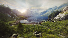Vanishing of Ethan Carter (screenreel) Tags: vanishingofethancarter unrealengine ue4 graphics gpu pc videogame nature grass tree green yellow autumn sky sun clouds leaf ground road mystic detective day wood forest railroad river mountains horizon light wire bridge metal lampion streetlight building abandoned electricity rock tunnel valley