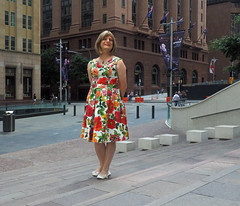 Martin Place (justplainrachel) Tags: justplainrachel rachel cd tv crossdresser transvestite dress frock vintage retro floral style selfoe selfportrait sydney nsw australia