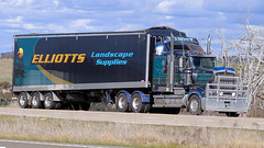 Hume/Lachlan (1/3) (Jungle Jack Movements (ferroequinologist)) Tags: elliotts landscape kenworth burkinshaw western star 4900 kw thompson tumut lachlan valley way hume highway yass nsw new south wales hp horsepower big rig haul haulage freight cabover trucker drive transport carry delivery bulk lorry hgv wagon road nose semi trailer deliver cargo interstate articulated vehicle load freighter ship move roll motor engine power teamster truck tractor prime mover diesel injected driver cab cabin loud rumble beast wheel exhaust double b grunt