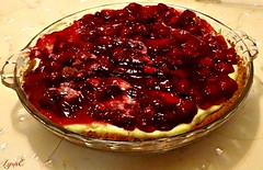 Violet made this Cherry Cheesecake with me. (Lynn English) Tags: homemade pie cheesecake cherry