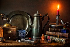 As the Evenings Draw In... (memoryweaver) Tags: stilllife memoryweaver texturised textured pergeut coffeegrinder candle leatherbound books antiquarian plate blueandwhite china coffeecup coffeepot coffee chamberstick candlelight pewter tabletop