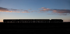 Sunset, Silhouette, Short Set (Richie B.) Tags: 2c33 flimby cumbria arriva northern trains drs direct rail services english electric british class 37 37425