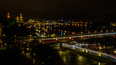 Dresden Skyline 5 (deepaqua) Tags: lights night river dresden synagogue cathedral elberiver livecomposite