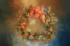 My Autumn Wreath... (Patlees) Tags: autumn 2018 wreath frontdoor bird textured dt redo newtexture htt happytexturaltuesday