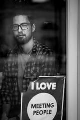 Will 14/100 (Dan Fleury Photos) Tags: cdn streetportrait portrait bnw blackandwhite cafe reflections window street justmet strangers kingston ontario canada ca