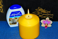Sweet as (Dreaming of the Sea) Tags: smileonsaturday nikond5500 nikkor nikkor18200mm blue orchid candle yellow gold fishing fish sugar crazystilllife