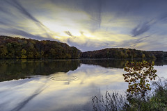 Placid Waters (SteveFrazierPhotography.com) Tags: fall autumn argylelake statepark water sunset splash ripples rings fadinglight reflections surface clouds woods woodlands trees color foliage shore shoreline colchester mcdonoughcounty illinois stevefrazierphotography h