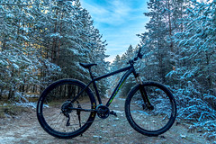 Gateway To Adventure (IronBokeh) Tags: minsk belarus winter trees bicycle cycle cycling bike landscape ice frost snow sky blue cold adventure travel