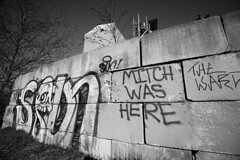 Mitch Was Here (Brad_McKay) Tags: ifttt 500px brick concrete wall abandoned cement old stone black white graffiti marked paint