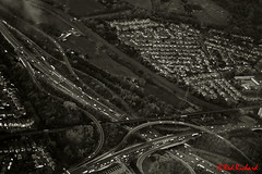 Manchester (red.richard) Tags: bw monochrome city manchester arial roads cars traffic motorway