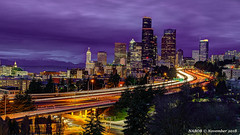 Seattle, WA: Downtown viewed from Dr José Rizal Park at the 12th Avenue bridge overlooking Interstate 5 (nabobswims) Tags: hdr highdynamicrange ilce6000 lightroom mirrorless nabob nabobswims photomatix sel18105g seattle sonya6000 us unitedstates wa washington