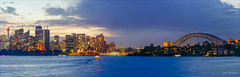 The difference of time (JustAddVignette) Tags: australia city cityscape clouds harbourbridge landscapes lights newsouthwales night ocean panorama rocks seascape seawater sky sunset sydney sydneycbd water