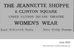 circa  1910   The Jeannette shope -  women's clothing   - under the clinton square theatre (albany group archive) Tags: early 1900s janet mccormack sayles irene crotty persons old albany ny vintage photos picture photo photograph history historic historical