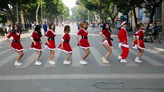 Santa dancers (DepictingPhotos) Tags: asia colours dancers hanoi red vietnam xmas
