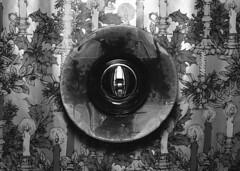 untitled (kaumpphoto) Tags: mamiya nc1000s kodak tmax 3200 bw black white abstract candle paper lighter bowl ceramic glaze flame illustration holly christmas xmas holder illuminate circle