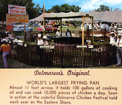 World's Largest Frying Pan at the Delmarva Chicken Festival (delmarvausa) Tags: disappearingdelmarva allgone postcard vintage delmarva delmarvapeninsula maryland vintagedelmarva postcards oldpostcard delaware easternshore vintagepostcard thingsthataregone delmarvachickenfestival firststate chickenfestival delawarechicken worldslargestfryingpan fryingpan fair festival delmarvahistory people cooking poultry agriculture delmarvafarms